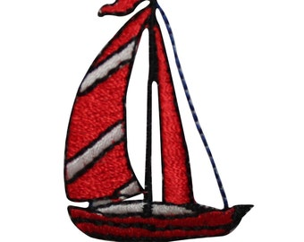 ID #7271 Red Sail Boat Ship Water Iron On Embroidered Patch Applique