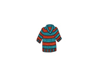 ID #7868 Red Blue Striped Shirt Fashion Iron On Embroidered Patch Applique