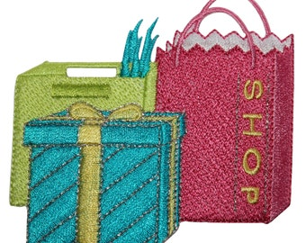 ID #8506 Mall Shopping Spree Bags Gift Box Embroidered Iron On Applique Patch