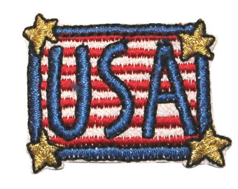 ID #1030 America USA Patriotic Stars Stripes Embroidered Iron On Badge Applique Patch