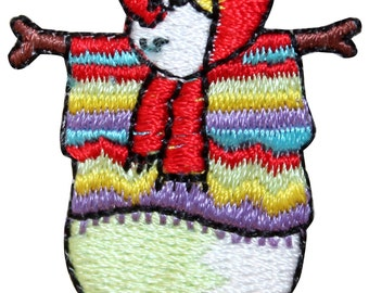 ID #8218A Snowman Winter Season Holiday Art Embroidered Iron On Badge Applique Patch