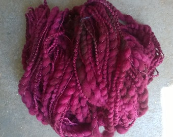 Handspun Yarn: Deep Burgundy, Super Bulky 2 Ply