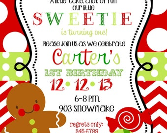 12   Christmas Holiday  Birthday Party Invitations with envelopes -gingerbread