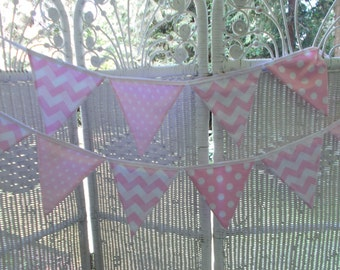 Pink Fabric Banner- Polka dots, Chevron