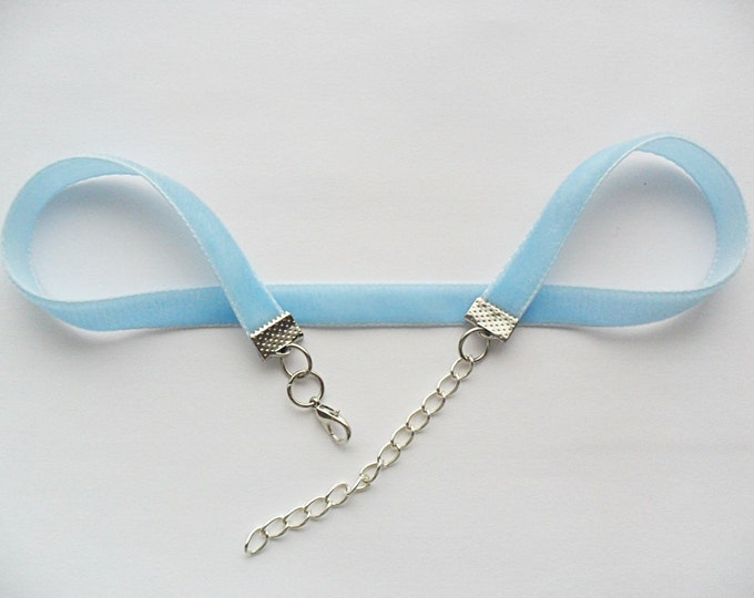 "Velvet choker with baby blue plain ribbon adjustable with a width of 1/2"" Ribbon Choker Necklace (pick your neck size)"