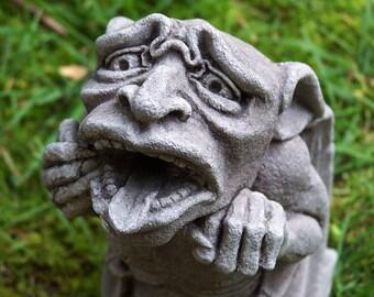 Gargoyle Worrywart,  Gothic waterspout, Medieval sculpture, Cast stone art, Garden statue, Richard Chalifour