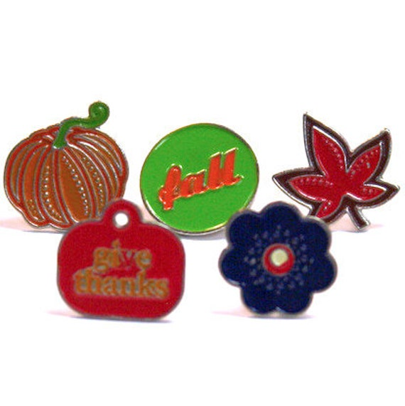 BRADS / Canada Day - Maple Leaf / Fall Pumpkin  Give Thanks Blue Flower / Embellishments Set of 15