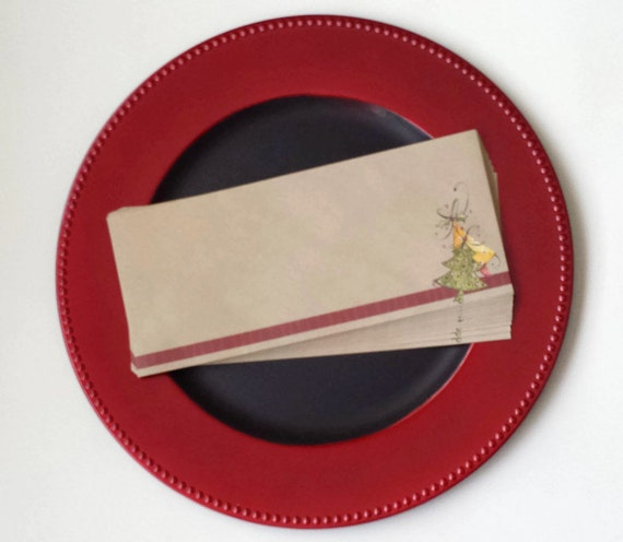 SALE - Envelopes A10 Size Christmas Holiday Tree Newsletter - Set of 15