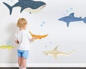 Shark Adventure Printed Wall Decal-Shark Decal, Shark Wall Sticker, Shark Decor, Underwater Decal, Ocean Decal, Nursery Ocean Art, Shark Art