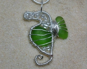 Small wire wrapped lime green sea glass seahorse with sterling silver chain