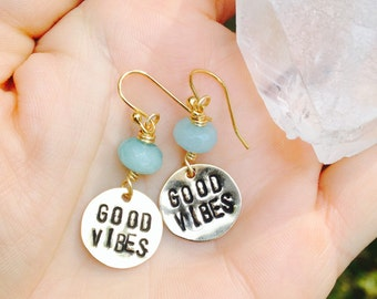 GOOD VIBES - Stamped earrings with gemstone of your choice