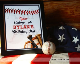 Baseball Autograph Sign, Custom Baseball Signature Signage, Guest Book Sign, Table Signs, Printable, Baseball Party Decor, Birthday, Wedding