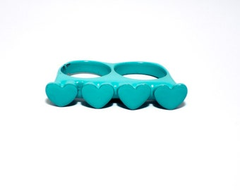 Teal Loveknuckles double knuckle ring heart ring