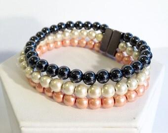 Triple stranded magnetic hematite bracelet - layer bracelet - neopolitan pearl color palette - custom sized