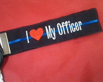 I Love  My Officer Key Ring