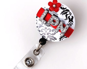 LPN Red Blossom Bling - Personalized Name Badge Reels - Bling Badge Clips - Unique Nurse Gifts - Personalized ID Badge Pulls - BadgeBlooms