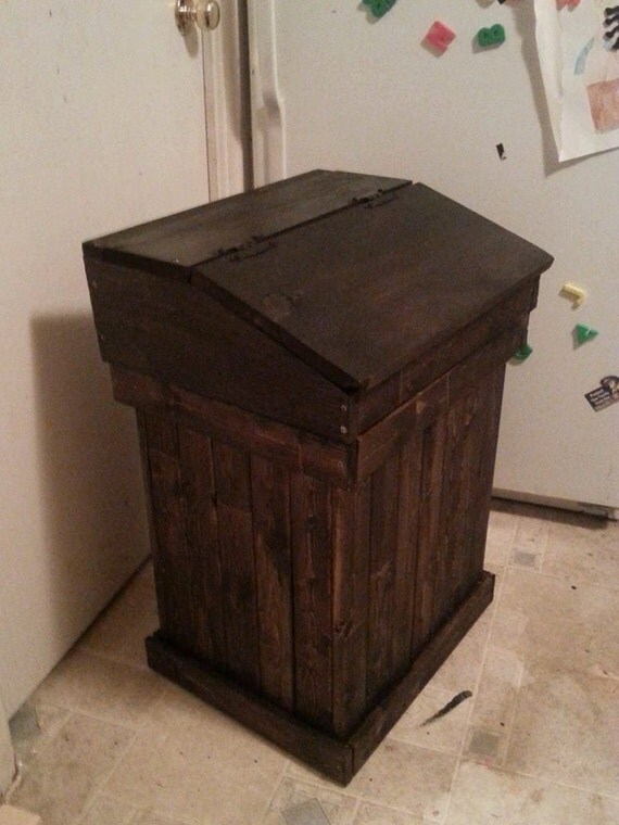 Wood garbage can trash can pet food storage bin large - Wooden kitchen trash can with lid ...