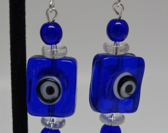 Square Blue Clear White Glass Earrings E-019