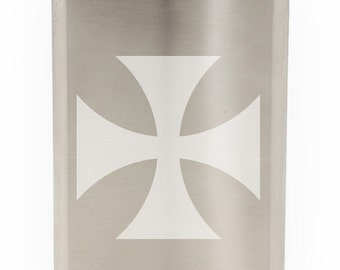 Italian Maltese Cross Etched 8oz Flask With Funnel