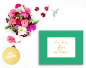 Gold Foil Print Nursery / Slow Down & Enjoy The Journey Emerald Green