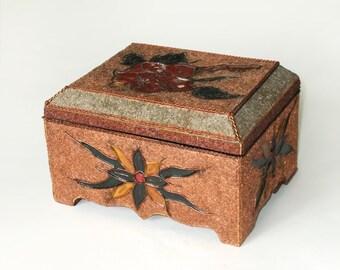 Vintage Soviet Decorative Box, Trinket Box, Jewelry Box with Floral Ornament