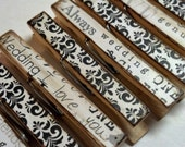 Bridal clothespins wedding theme decoupage clothespins set of 10 -black and white just married wedding decor