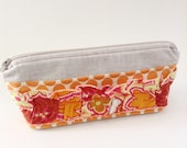 Ruffle Front Linen Cosmetic Bag - Orange Ruffle Makeup Pouch - Small Zippered Bags - Linen Pencil Pouch