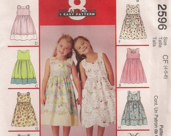 McCall's Sewing Pattern 2596 - Children's and Girls' Summer Dresses (4-6, 6-8)