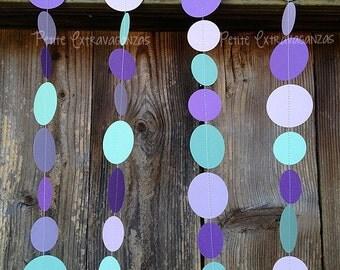 Mermaid Inspired Paper Circle Garland- Aqua, Purple, Lavender