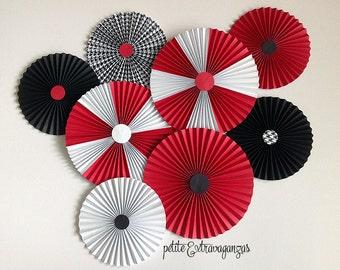 Paper Rosettes/ Fans - Red, Black, White