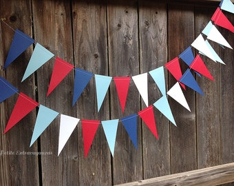 Nautical Pennant Banner/ Triangle Garland- Navy Blue, Light Blue, Red, White