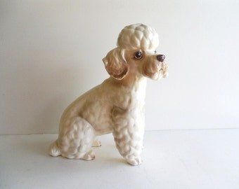 Mid Century 50s Shafford UK Large 10 Inch Numbered Ceramic Poodle Dog Figurine Statuette Made in Japan Vintage Collectible Pet  Home Decor
