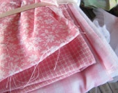 Pinks and prints Gingham and Stripped Quilters Quilt Pieces of Fabric Mixed Fabric Pieces