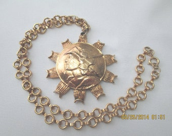 Mercury or soldier pendant with gold chain necklace