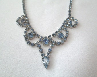 50s rhinestone necklace light blue