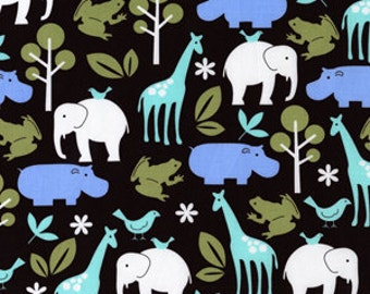 Michael Miller Fabric - 1 Metre Zoology in Chocolate Brown Mod Prints