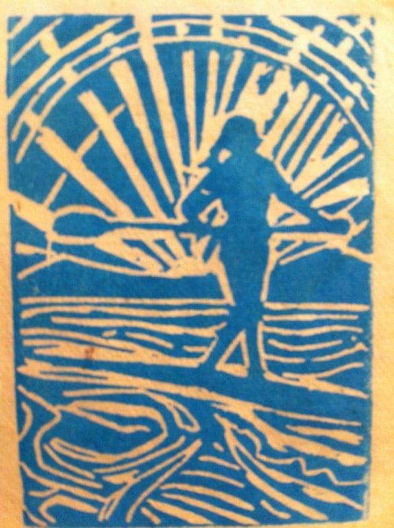 Babe On Board 4x6 linocut print on 5x7 card