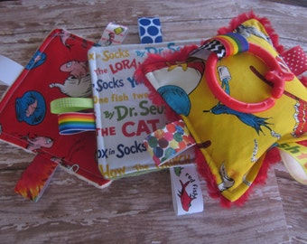 Dr Seuss Cat in the Hat  Baby Crinkle toys, 3 piece set as shown or pick your prints, New, soft, plush, Made in USA