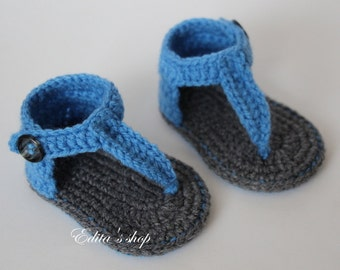 Crochet baby sandals, baby gladiator sandals, baby booties, baby shoes, size 0-3 months, Ready to ship