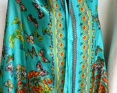 Bright colored blue turquoise natural silk scarf butterflies, blue, orange, red, turquoise, green, soft light, very soft, high quality silk