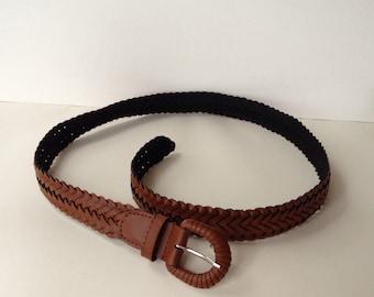 Vintage braided leather belt