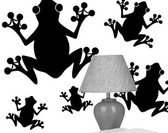 Frog Wall Decals - 5 Frog Stickers -  Vinyl Wall Decals, Woodland Decor Frog, Nature Decor, Rainforest Decor