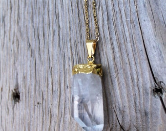 Single Chain Gold Plated Crystal Quartz Necklace
