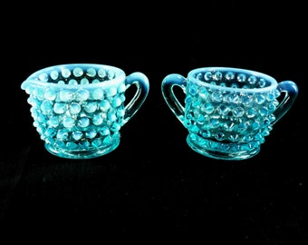 Fenton Hobnail Blue Opalescent Creamer and Sugar Set