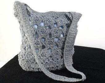 Blue Crocheted Shoulder Bag