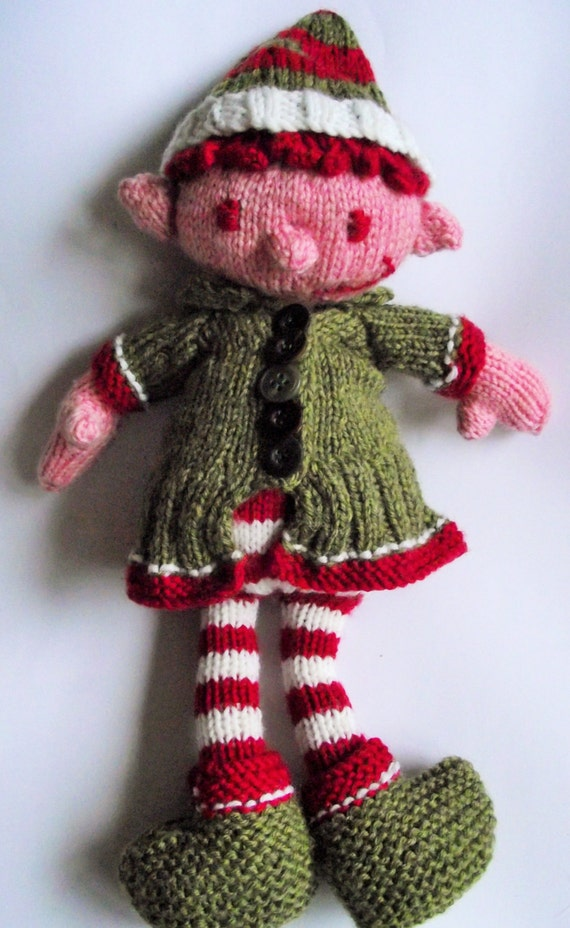 Knitted Elf Pattern : Fizz Wizz the Elf PDF knitting pattern Christmas toy Amigurumi