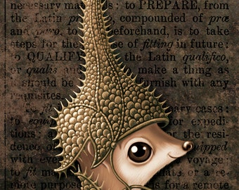 Weird cute sepia print 4x6, Come Try My Helmet On (Tincture): Small furry creature in fantasy armor. Whimsical animal art, Oddity curiosity
