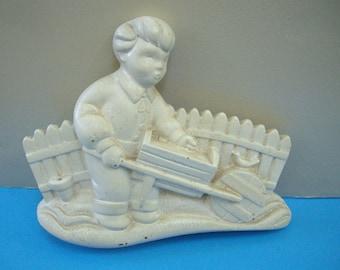 Vintage Chalkware Plaque Boy with Wheelbarrow
