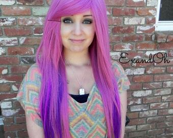 Mauve Purple / Long Straight Layered Wig, Emo Wig, Pink Mix Wig, Cosplay Wig, Mermaid Hair, Blonde