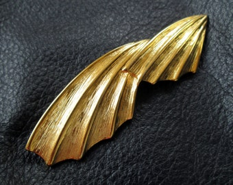 Statement gold brooch, vintage big long brushed gold tone broach